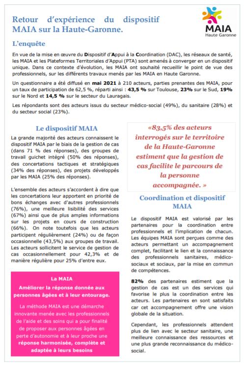 Retour d'expérience du dispositif MAIA sur la Haute-Garonne